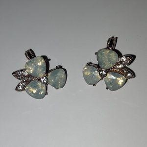 Floral Opal Like Clip on Earrings